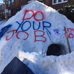 The #DoYourJob igloo & Tom Brady eternal flame on Colborne Rd in Brighton! #SuperBowlXLIX (built by @daniellexmarie) http://t.co/GVEPgHAOn0