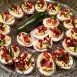 Yum! RT @alayokeblog: Alison rocking it out in the kitchen again!  Jalepeño Bacon Deviled Eggs. #foodie #eatandtweet http://t.co/Z6as2u8UGM