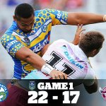 Game 1 is in the books.   Victory to the @TheParraEels!  #NRLAKL9s #NRL http://t.co/RTbOK165xW