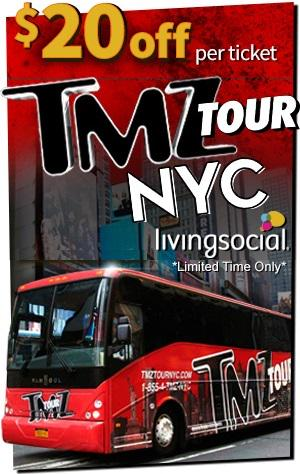 44% off the @TMZTour in NYC!! That's a $20 savings per ticket. Limited time only. Get on