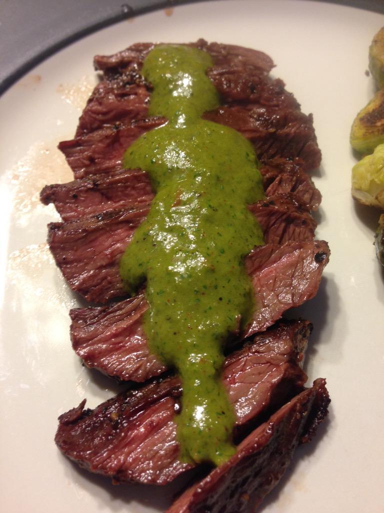 RT @MPHdawg: Grilled skirt steak w/ a spicy chimichurri sauce @GuyGourmet #CookingStreak http://t.co/gOqxqrKVux
