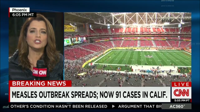CDC says stay away from Super Bowl if you feel sick. Problem is, you can spread measles before you feel really sick. http://t.co/UZW2yusBUl