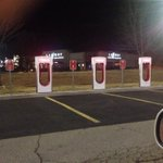 Meijer in Hamburg has tesla electric charging stations in parking lot, next to road. Cool. #lexington #Kentucky http://t.co/s2ryUp87fD