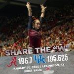 .@BamaGymnastics tops Kentucky in Lexington, 196.700-195.625! Share the W! #RollTide http://t.co/0PrkPDq5w8