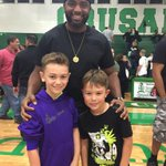 My two oldest celebrating @tampacatholic victory with TC Legend @thisisdspan http://t.co/Lq9qGPHtld