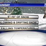 """SUNDAY SNOW UPDATE: Expect 6""""-10"""" by Monday morning NE winds will gust over 25 mph Falling Temps on Sunday http://t.co/4hMQ9jwgE8"""