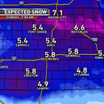 """As the storm gets closer..the totals get higher. This is the newest forecast showing 5""""- 6"""" over most of Iowa. #13now http://t.co/rKlvTdQwnu"""