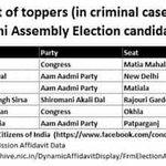 @mediacrooks Check d list of Toppers (in criminal cases) among Delhi VS Candidates. In Top6, 3 r frm AAP. @aajtak http://t.co/JKWAkwFf3j