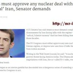 Congress must not approve any nuclear deal with 'tyrannical' #Iran, Senator demands @FoxNews @Reuters @AP @AFP @UPI http://t.co/uEewYpx0I5