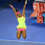 That moment when you win your 19th career major championship. Serena now tied for 3rd most major titles of all time. http://t.co/8mOYIfH6Ct