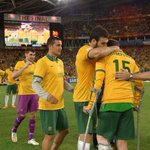 Love this pic! Sums up the Aussie spirit...Champions of Asia but you always look out for your mates first @Socceroos http://t.co/RV7wKdKTQj