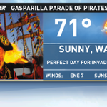 Im super excited for my first #Gasparilla today! Forecast looking excellent for festivities this afternoon: http://t.co/DJrNecox1y