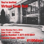 Youre invited to my virtual town hall meeting on Monday. Hope you can make it! #100days http://t.co/1vxLYVofWW