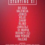 United XI: De Gea, Valencia, Jones, Rojo, Shaw, Blind, Januzaj, Di Maria, Rooney, van Persie, Falcao. #mufclive http://t.co/k7FU0yNgp1