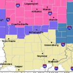 NEW: Winter Storm Warning for Hamilton Co. north in pink. Indy now out of watch: in Winter Weather Advisory. #INwx. http://t.co/iykEjHPqgh