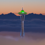 The Space Needle screams along with the 12s! What a sunset last night back in Seattle! (pic thanks to @equalmotion) http://t.co/1vtHGDq75d