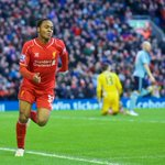 PHOTOS: Raheem Sterling celebrates scoring the opening goal for #LFC at Anfield. http://t.co/x2lHu1eYCu