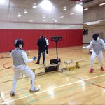 These fencers are finding refuge from the snow at UNBs Currie Centre, provincial tournament still on today #nb http://t.co/VwWH8hpxYq
