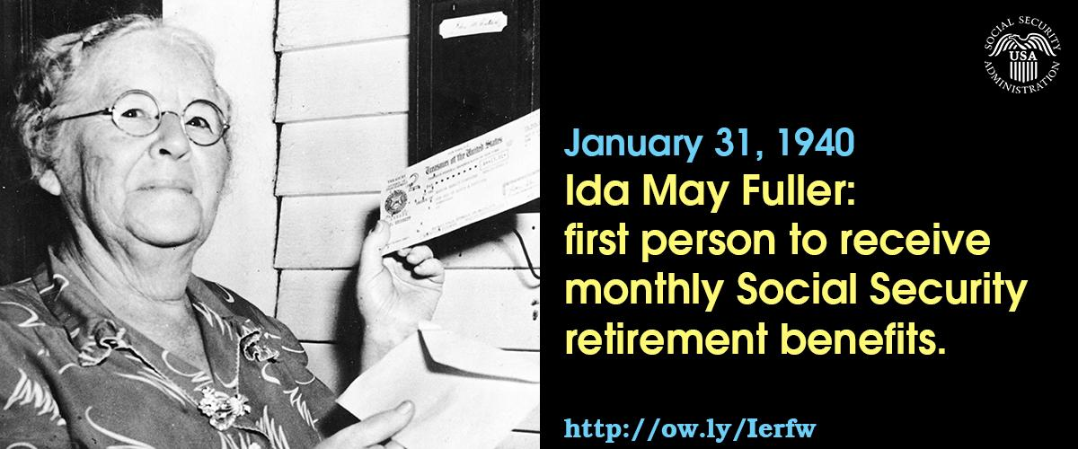 Today in 1940, #SocialSecurity check number 00-000-001 was issued to Ida May Fuller for $22.54 http://t.co/QEvPxFZovg http://t.co/eyBVactDem