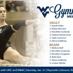 Lineups are in! Sophomore Alexa Goldberg will see her first career all-around action tonight #HailWV http://t.co/H5TwLdhZdC