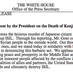 Statement by President Obama on the Death of Kenji Goto: http://t.co/2AFw65jV1v