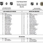 Tonights lineups. Caron, Bartkowski the scratches for Boston (Svedberg on a conditioning loan to Prov). #NHLBruins http://t.co/QAyOmVFWj3
