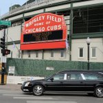 #MrCub took one last trip past Wrigley Field as workers took a break from construction to pay their respects. #14 http://t.co/FDtHIp7zUB