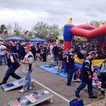 Patriots Pep rally at Tosos in Phoenix. Bouncy house, beanbags, & beer. Some people know how to party #SB49 http://t.co/GGGsUW3NnV