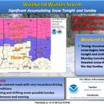Winter Storm Warning north of #Indy, advisory east-west through Indy. Heaviest snow expected #Sunday. #INwx http://t.co/KgjCjhqBff