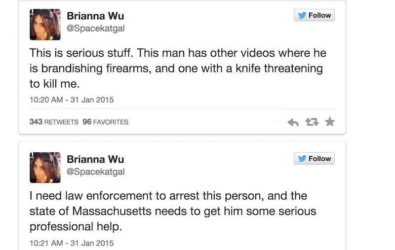 Game developer @Spacekatgal wants law enforcement to make an arrest after new online threats: http://t.co/WMX3AYRKYT http://t.co/GNtI6xfMPw