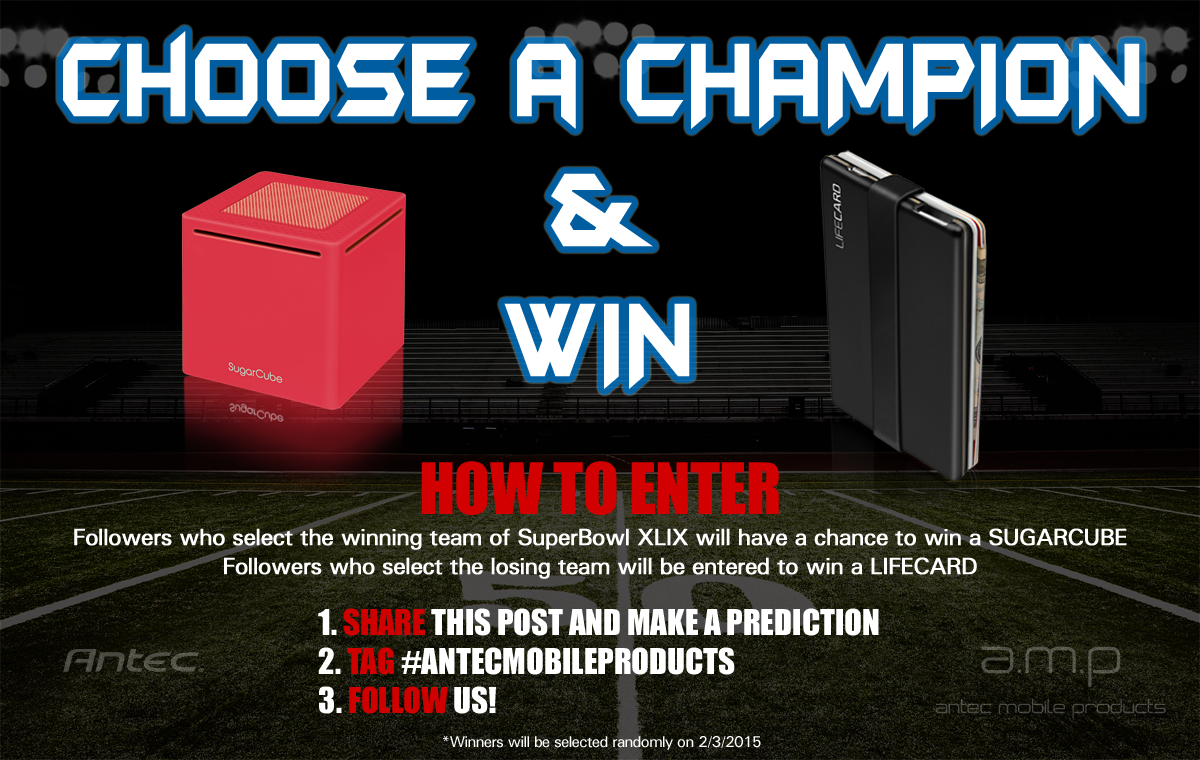 It's #Superbowl Contest Time! Pick a winner (or loser) and be entered to win a SugarCube or LifeCard. @antec_amp #win http://t.co/bfc7FtrHah