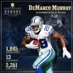 ¡El Jugador Ofensivo del Año 2014 es @DeMarcoMurray! #NFLHonors http://t.co/88Rir3U0Fs