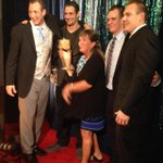 .@Patriots Gronkowski family rocking Robs award @ #nflhonors. Mom spiked it of course http://t.co/Ju68Zdwk1n