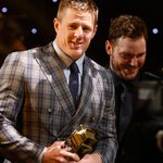 Watch @JJWatt get his @NFL Defensive Player of the Year award at tonights #NFLHonors. VIDEO: http://t.co/T4ngGrQzuq http://t.co/9ALultrYAw