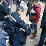 Arrests, pepper spray out, batons out, police officer injured, protester injured. Big mess #occupyhk #TaiPo http://t.co/eeh9eLgyt3