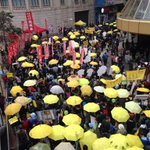 Sea of yellow umbrellas. #occupyHK democracy protesters back in #HongKong today. http://t.co/hu9fVYDFWt http://t.co/0jf8cZqShg @hrichina