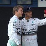 As #F1 pre-season testing begins in Spain, @MercedesAMGF1 team mates Hamilton and Rosberg pose for a selfie http://t.co/95RoY1HwVM