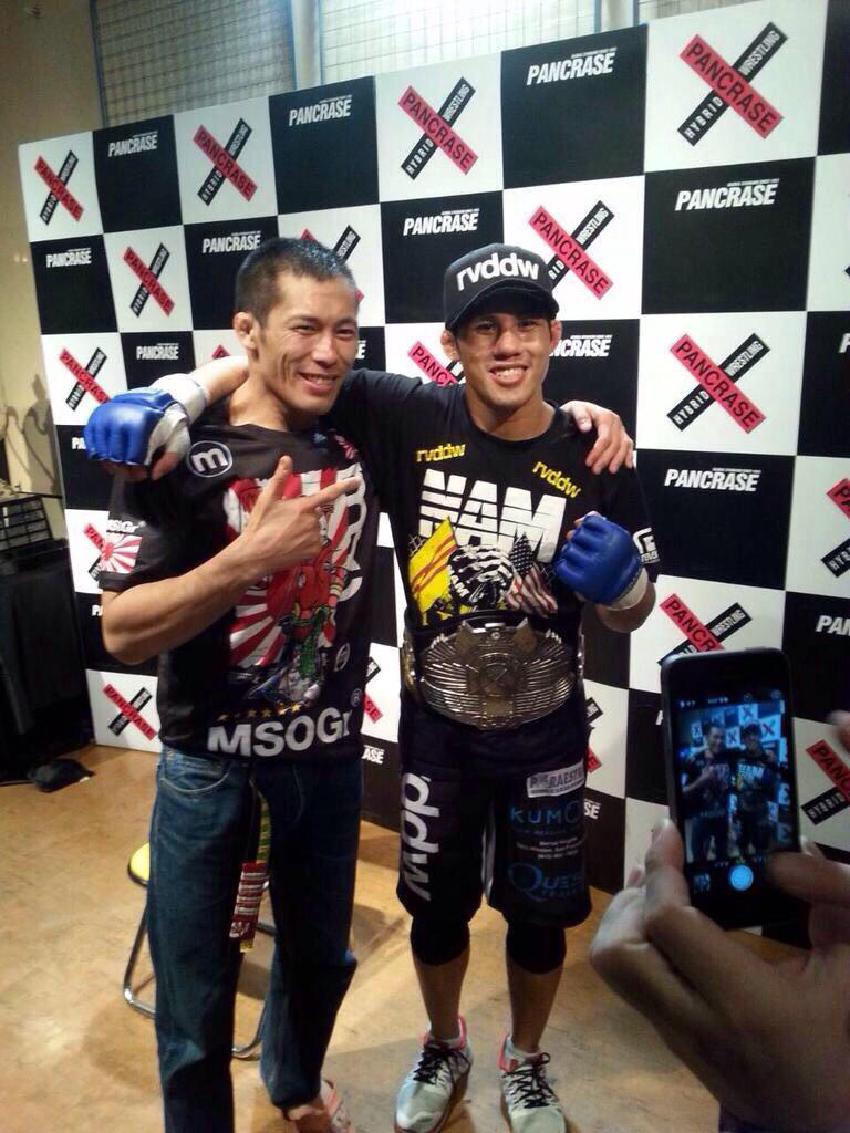 Guess who's the new King of Pancrase . I wanna say thank you to everyone for their love and support. #FightOrDie http://t.co/FVssxNEO7B