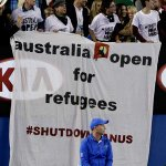 When #AusOpen between Murray & Djokovic was halted by political protesters. Match updates: http://t.co/mbvzYyDUNS http://t.co/stwrxSXm8D