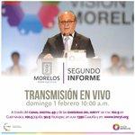 Buen día. Hoy entrego el #2informeMorelos ante @MorelosCongreso . Síguelo en vivo por http://t.co/lH31u2z04t 10 am. http://t.co/HGy3iSGPlk