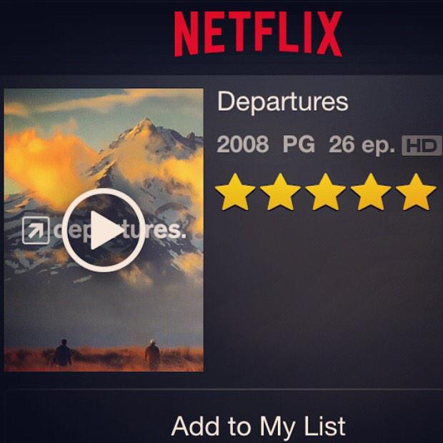 The day has arrived! We are proud to announce that Departures is now on Netflix! http://t.co/bbldqP5zbK