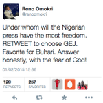 Reno did a quick Twitter Opinion Poll, Here are the results. Cc @gbengasesan @GbengaGOLD @DOlusegun @GMBVolunteers http://t.co/Ybyxcqnyvk