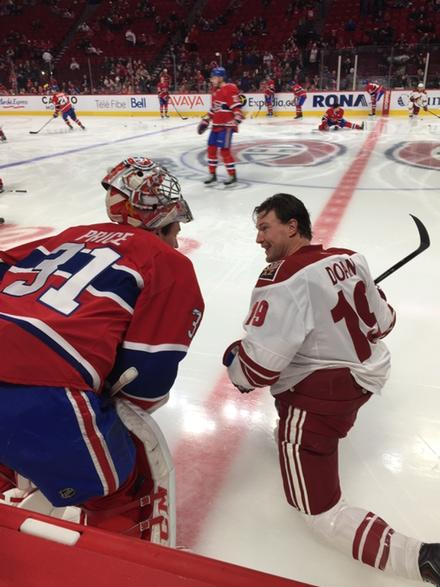 Cousins (Doan and Price) catching up before today's game. #Coyotes #ARIvsMTL http://t.co/BZv5D5vgeF