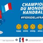 Bravo à léquipe de France, 5 étoiles, une 1ère historique dans lhistoire du #handball. #FiersdelaFrance #FRAQAT http://t.co/iEIoxFf856