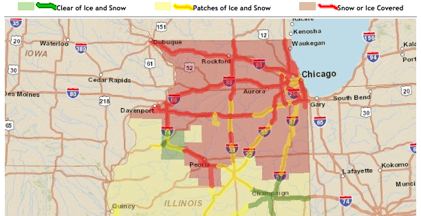 illinois road conditions map illinois map
