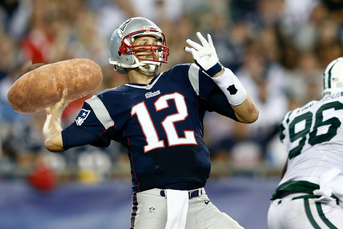 First deflated balls, now Tom Brady is playing with a potato? This is getting ridiculous. http://t.co/VzPcQdC46o