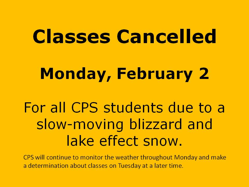 Classes are cancelled tomorrow, Monday, Feb. 2 due to a slow-moving blizzard and lake effect snow.  Stay safe! http://t.co/dp7raw4Mfp