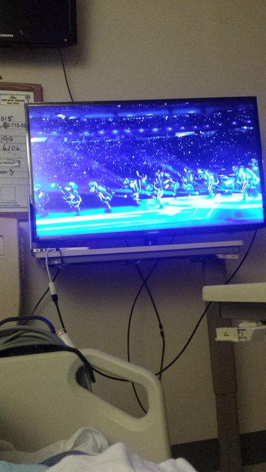 Enjoying the #SuperBowl from my hospital bed, gotta love #MissyElliott & that stage set up. :) http://t