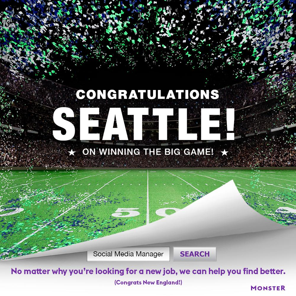 Smart Ad ;) RT: @Monster: Congratulations Seattle from http://t.co/eKWrs7gPQ2! #biggame http://t.co/kiCM39HJxB