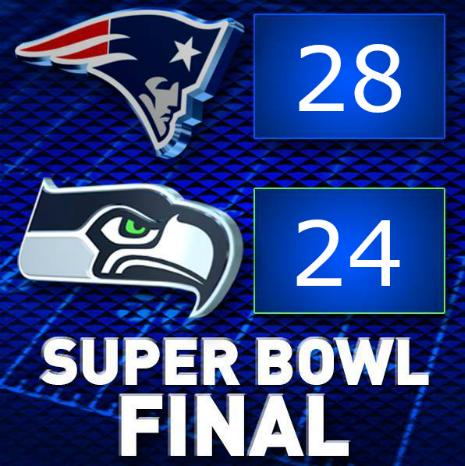 SUPER BOWL FINAL SCORE: Patriots  28 Seahawks  24 http://t.co